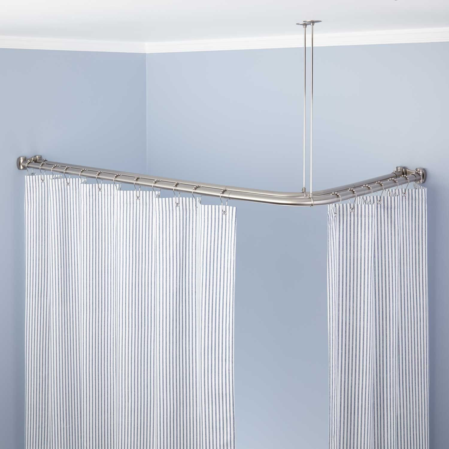 Corner Double Solid Brass Shower Curtain Rod Double Shower