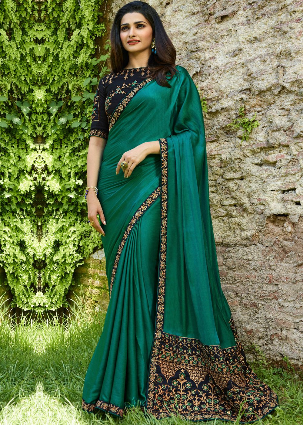 Bottle Green Color Wrinkle Chiffon Printed Sarees Mastani Collection Yf 23541 Stylish Sarees Party Wear Sarees Silk Saree Blouse Designs