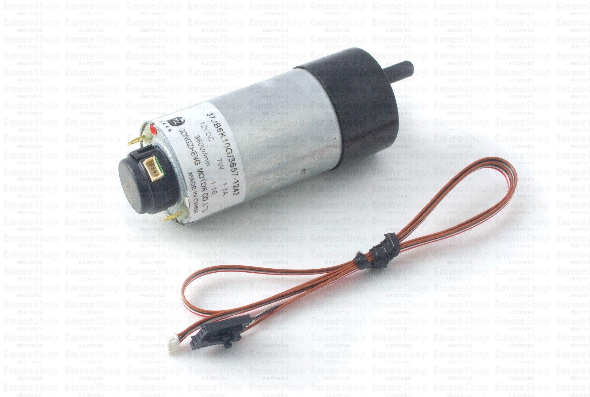 3258E_0 - 12V/1.5Kg-cm/365RPM 10:1 DC Gear Motor w/ Encoder This DC motor has an encoder, a 10:1 gearbox, a rated speed of 365 RPM and rated torque of 1.53 Kg·cm.