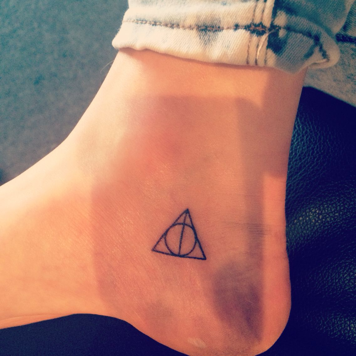 Deathly Hallows Tattoo Tiny Harry Potter Tattoos Inner Ankle Tattoos Foot Tattoos