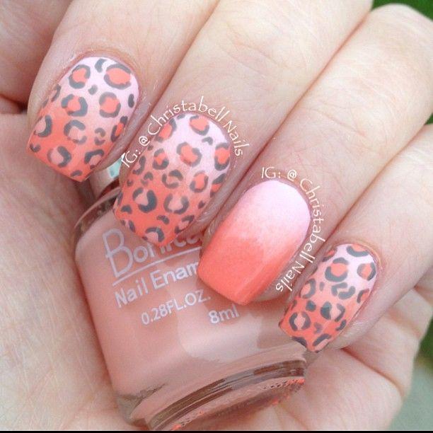 Unas leopardo y degradado color melón | UÑAS!! | Pinterest | Color ...