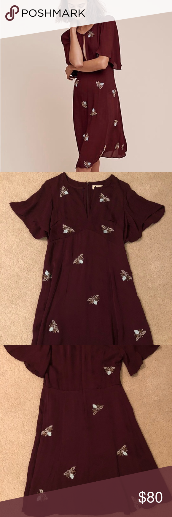 67b9d1428ee5 Anthro beaded firefly dress size 4 great condition Maroon dress with firefly  embroidery (comes with packet of replacement sequins) size 4 US.