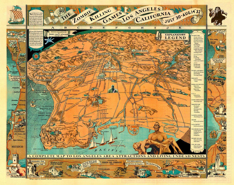 Digital Print Los Angeles Zombie Art Los Angeles Map Olympics - Los angeles map vintage