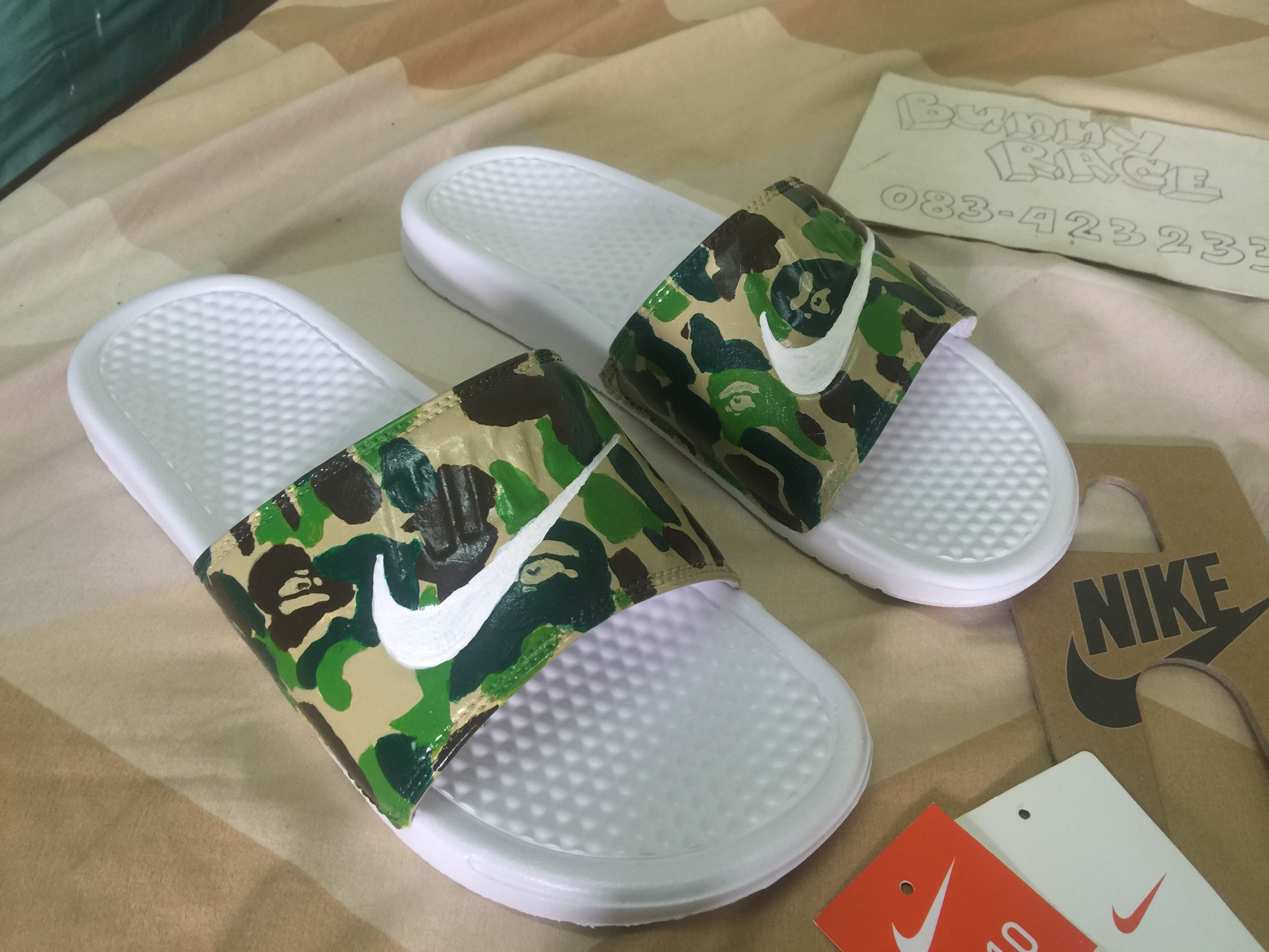 2f3b43420c61 good item nike slides custom bape camo