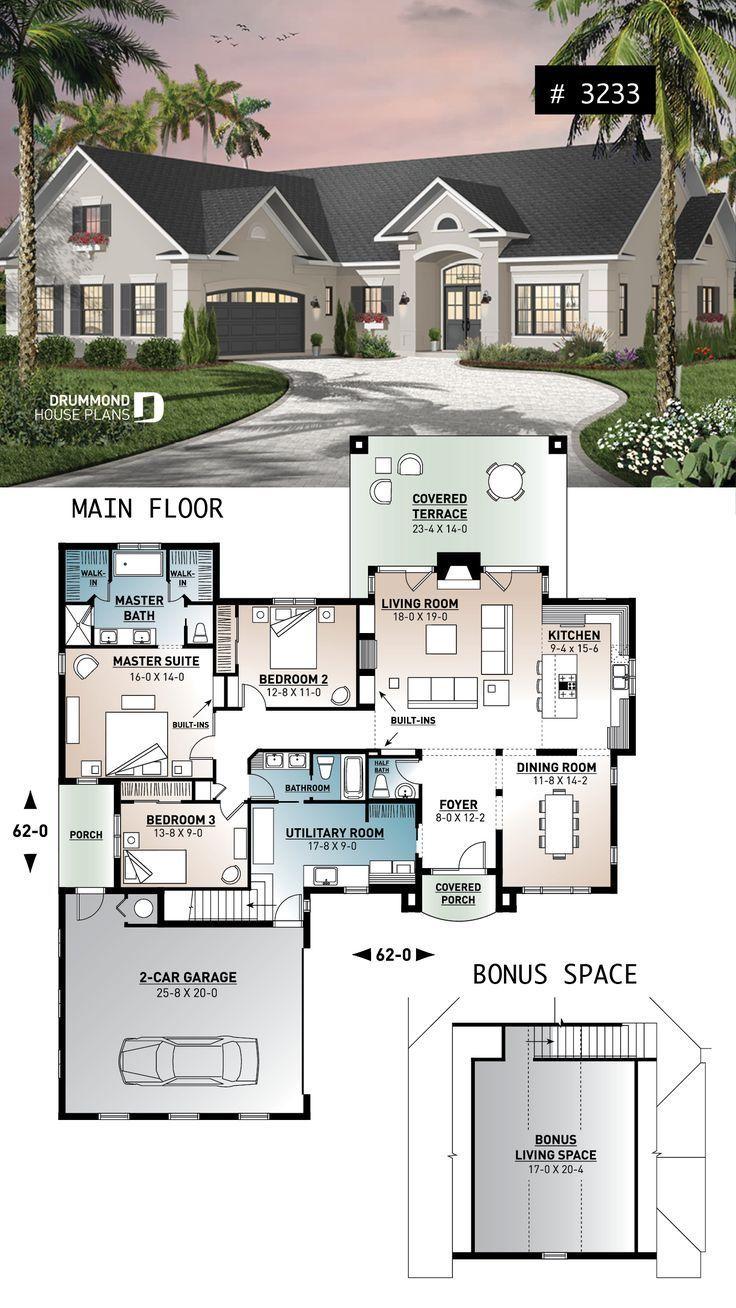 2080 Sqft 3 Bed 25 Bath Bonus Over Garage Lar Architekt Sims House Plans House Blueprints House Plans