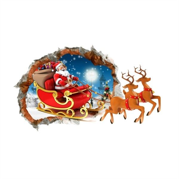 creative christmas 3d reindeer sleigh wall sticker christmas holid