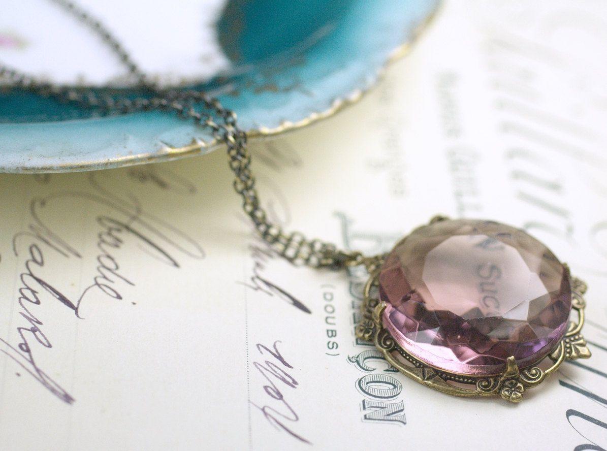 Amethyst jewel necklace bridal victorian brass by mylavaliere, $39.00