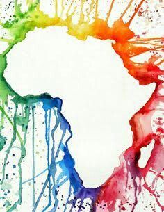 Map Of Africa Art Colorful Africa map   African art projects, Elementary art