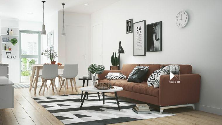 Sala da pranzo e salotto insieme, divano colore marrone