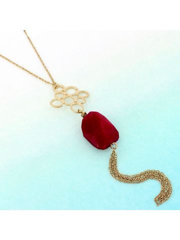 Goldtone Bubbles and Magenta Stone Tassel Pendant Necklace