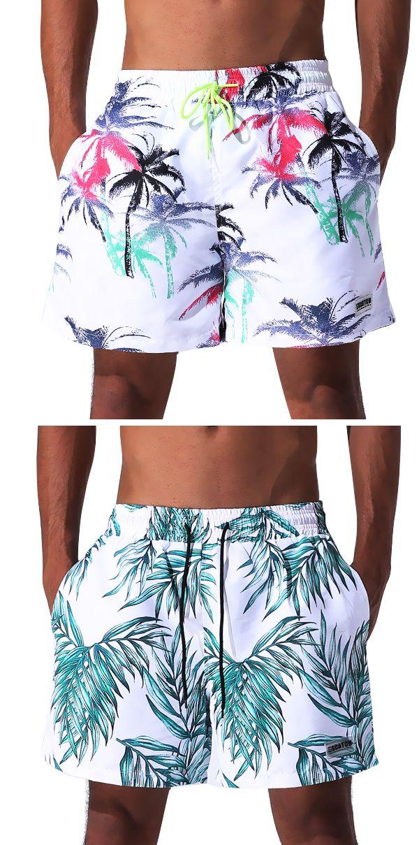 f1283e4e982d Summer Printing Beach Short for Men: Drawstring Board / Quick Dry Homens  Praia, Bermudas