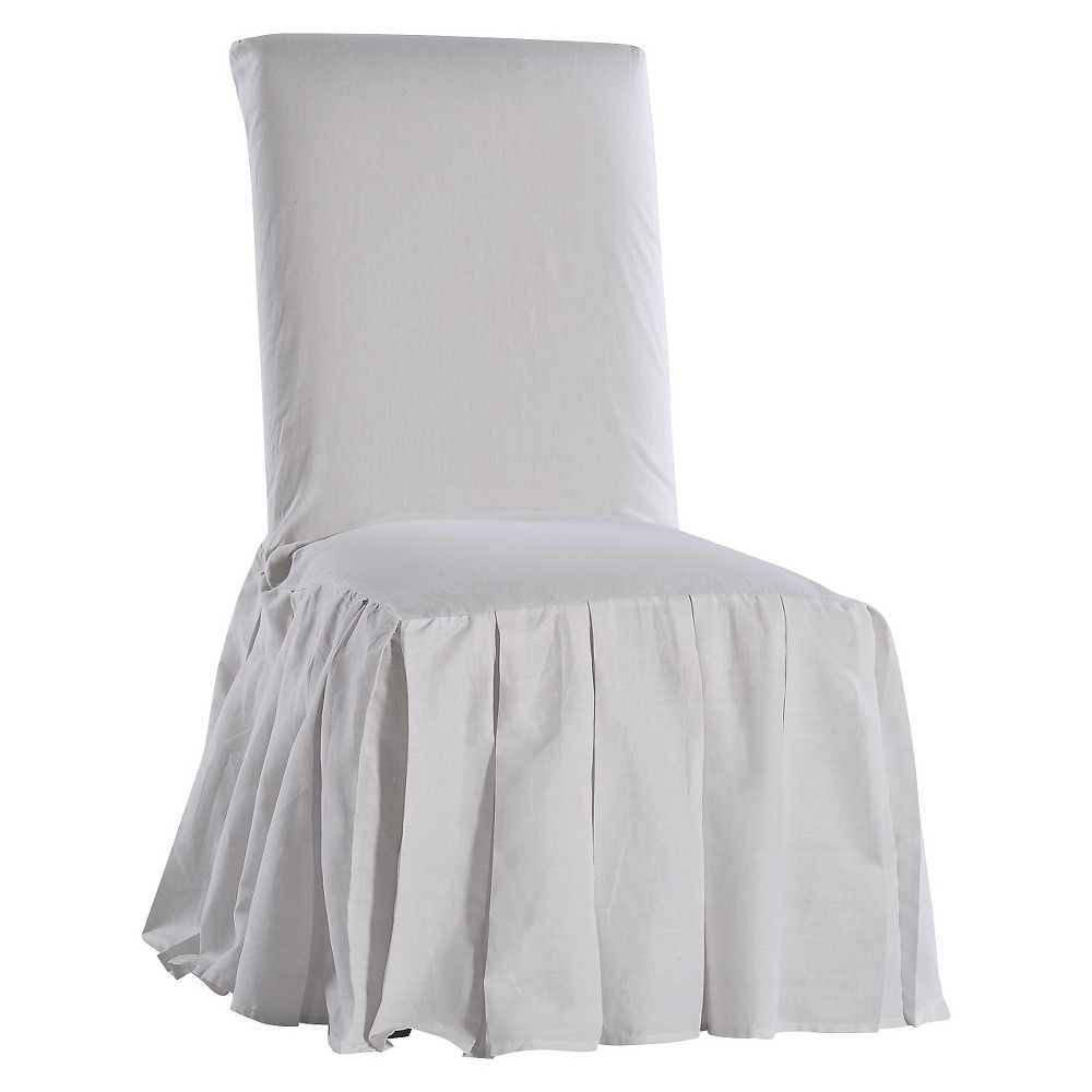 Magnificent White Cotton Duck Pleated Dining Chair Slipcover White Long Evergreenethics Interior Chair Design Evergreenethicsorg