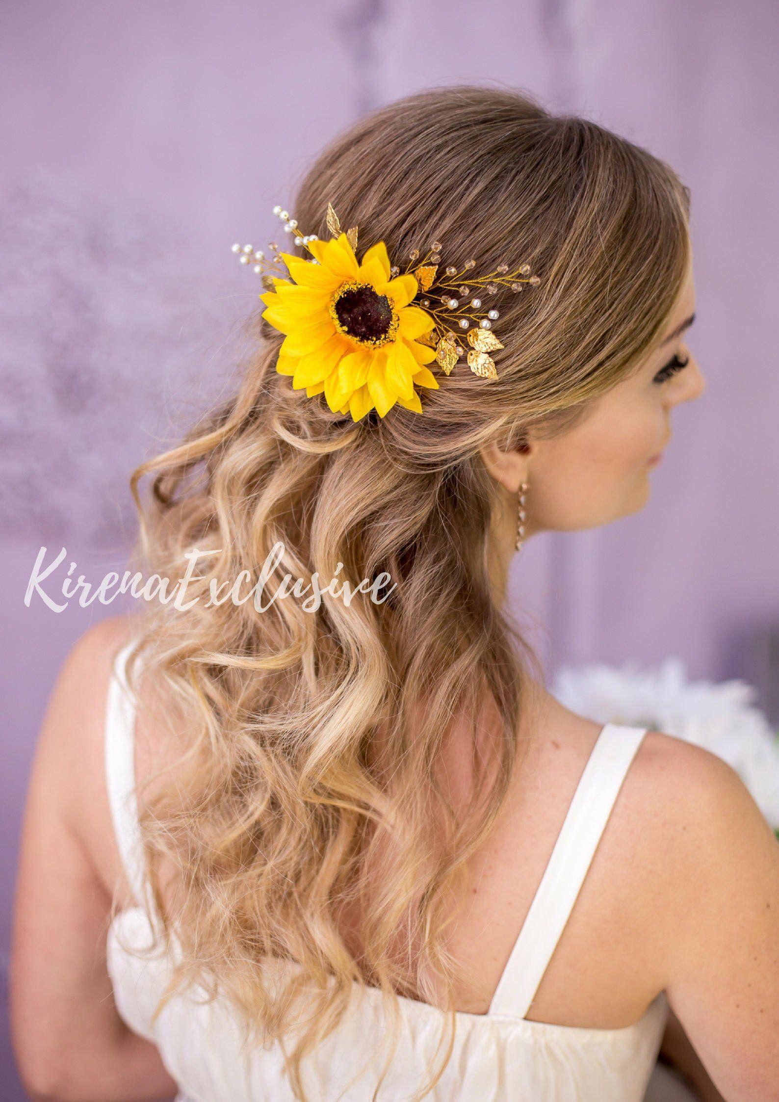 9658fc71c9fbc Sunflower hair clip Sunflower headpiece Sunflower wedding hair comb ...