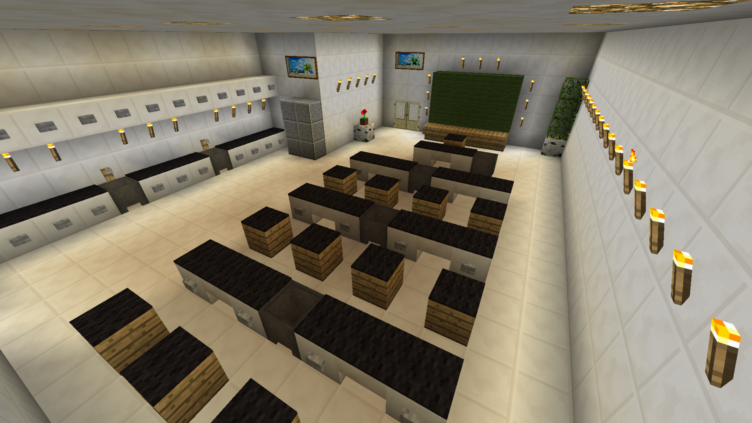 Minecraft School Classroom Desk Lab Furniture Minecraft House Designs Modern Minecraft Houses Minecraft Blueprints