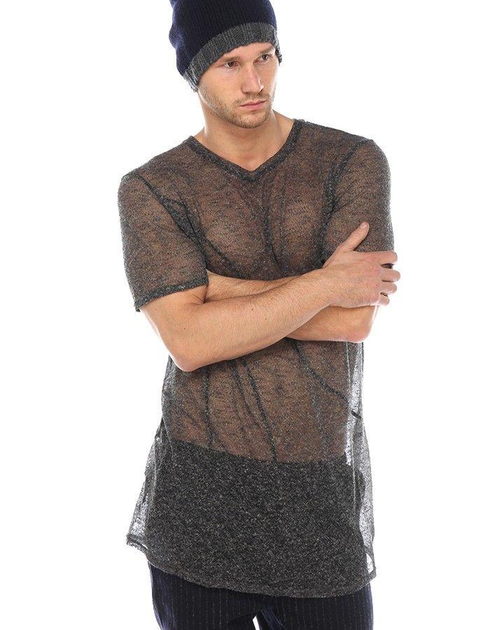 Atelier Brume Woll-Shirt Grau Meliert  stylisches langes T-Shirt von Atelier Brume für Herren aus einer Woll-Mischung in Grau Meliert Rundhalsausschnitt transparente-Optik langer, gerader Schnitt Ziernaht-Details