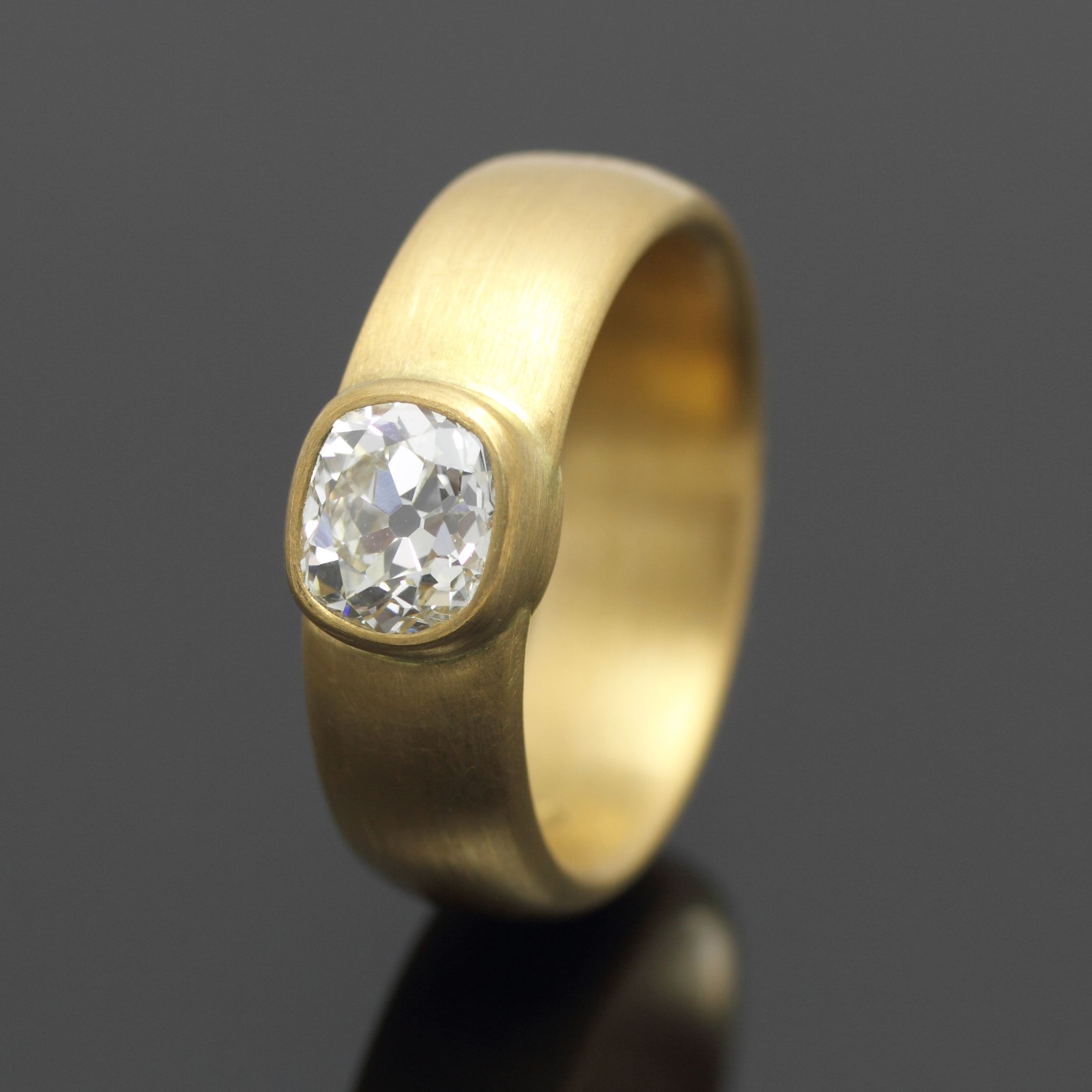 Antique Cushion Cut Diamond Ring In 22ct Gold hey a girl can