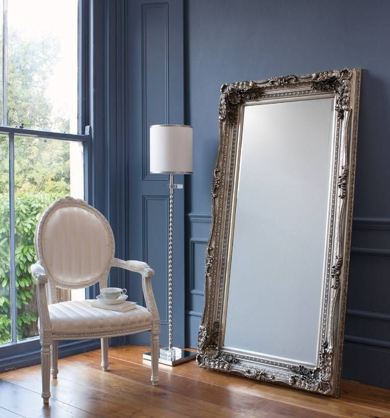 Large Silver Leaner Mirror LOVE the ornate frame <3 I was lucky ...