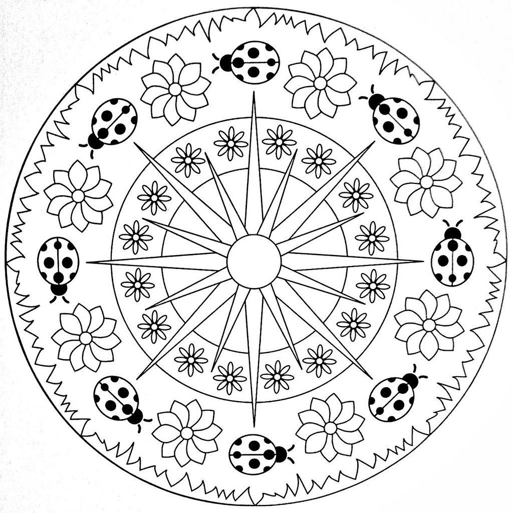 Mandala Coloring Page - Ladybugs | Frühling, Ausmalbilder und Bilder