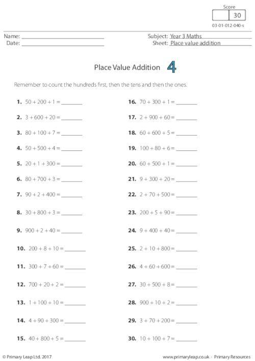 Primaryleap Co Uk Place Value Addition 4 Worksheet Free Worksheets For Kids Addition Words Basic Algebra