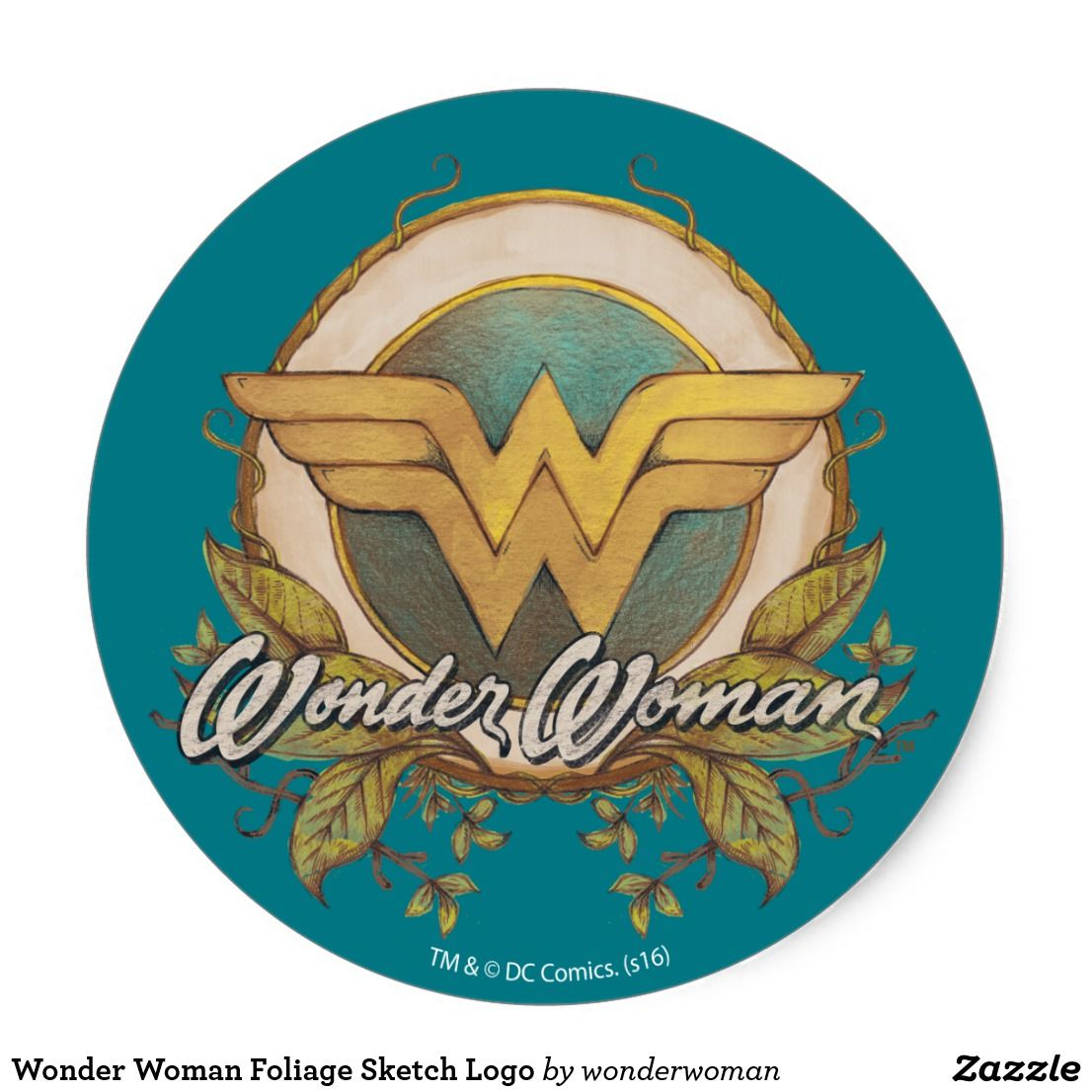 Wonder Woman Foliage Sketch Logo Classic Round Sticker Zazzle Com Wonder Woman Drawing Wonder Woman Design Wonder Woman Artwork [ 1106 x 1106 Pixel ]