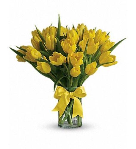 Sunny Yellow Tulips Deluxe Yellow Tulips Get Well Soon Flowers Tulips Flowers