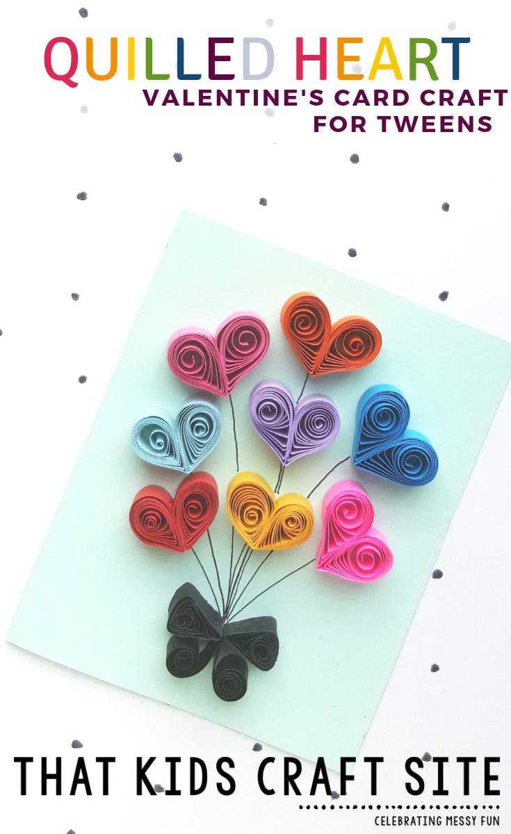 Paper Quilling Heart Card Valentine's Day Craft for Tweens - Crafts for Kids - ThatKidsCraftSite.com