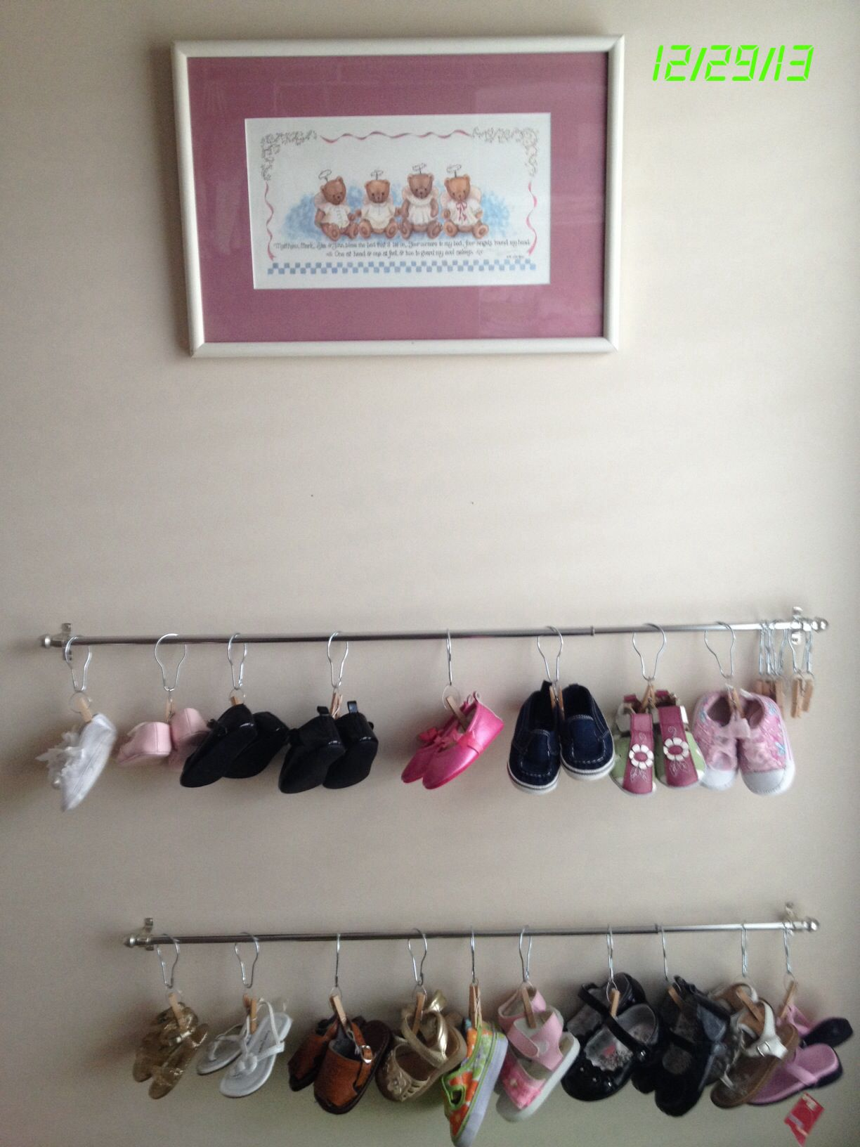 Baby Clothespin Shoe Rack