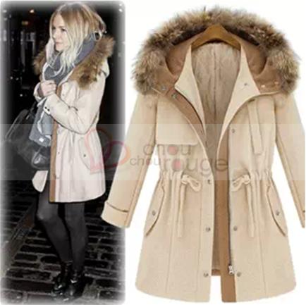 Manteau beige femme capuche
