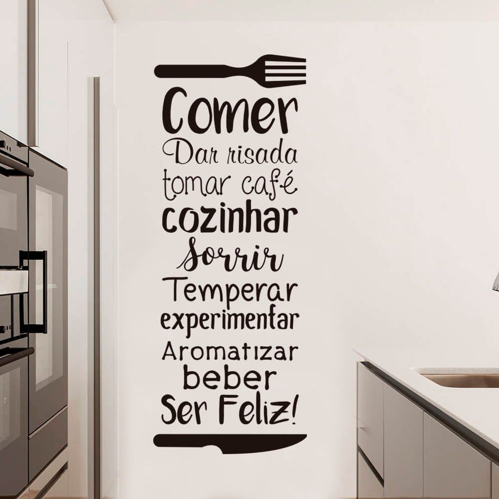 Adesivo De Parede Frase Decorativa Cozinha Com Imagens