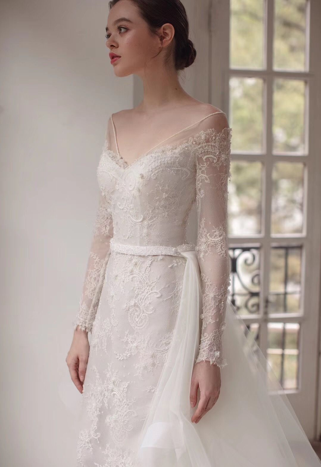 b47ccaf2f08c Wide V neck full sleeve lace wedding dress with detachable train lace  appliqués