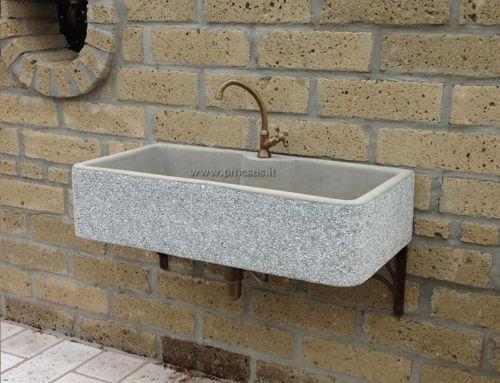 Lavandino marmo lavello acquaio in graniglia di marmo cm - Lavandino in pietra per esterno ...