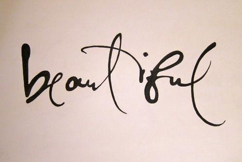 """Tiny Tattoo - """"beautiful"""" handwritten font idea."""