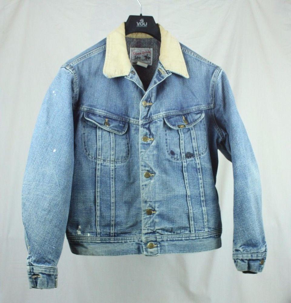 Vintage Lee Storm Rider Men Denim Jean Trucker Jacket Sz M Blanket Lined Denim Coat Jacket Big Tall Jeans Mens Denim [ 1000 x 960 Pixel ]