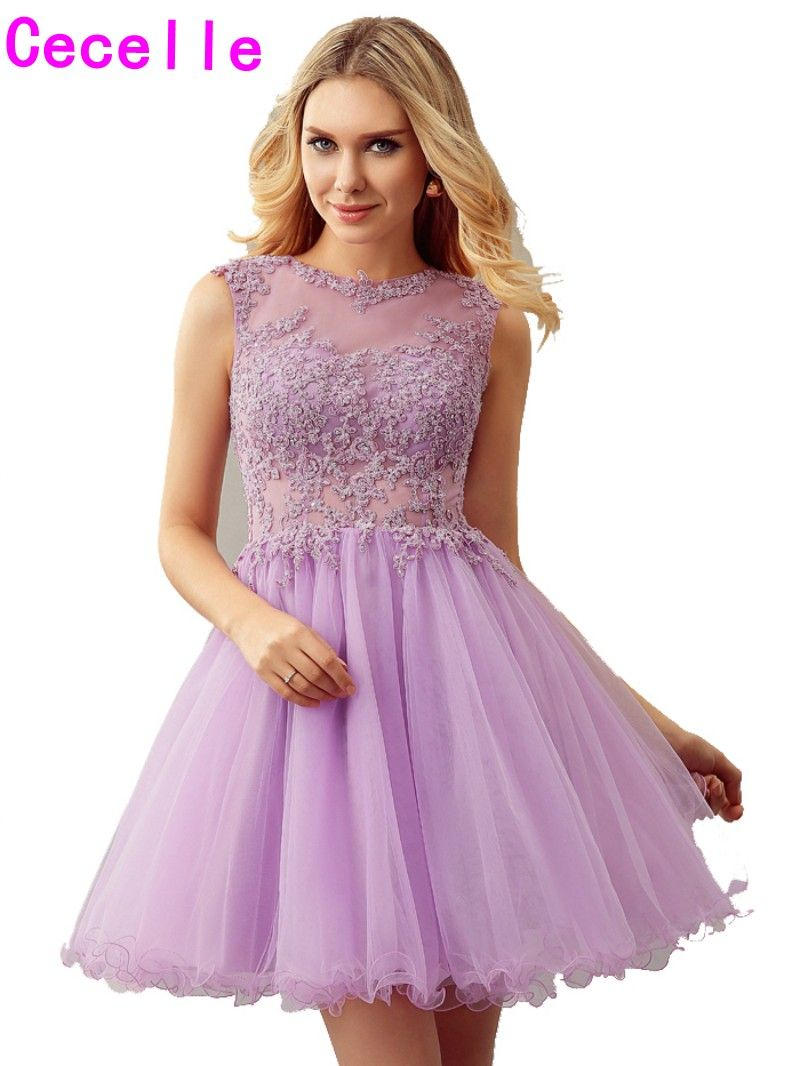 Lilac a line short juniors cocktail dresses beaded lace open back