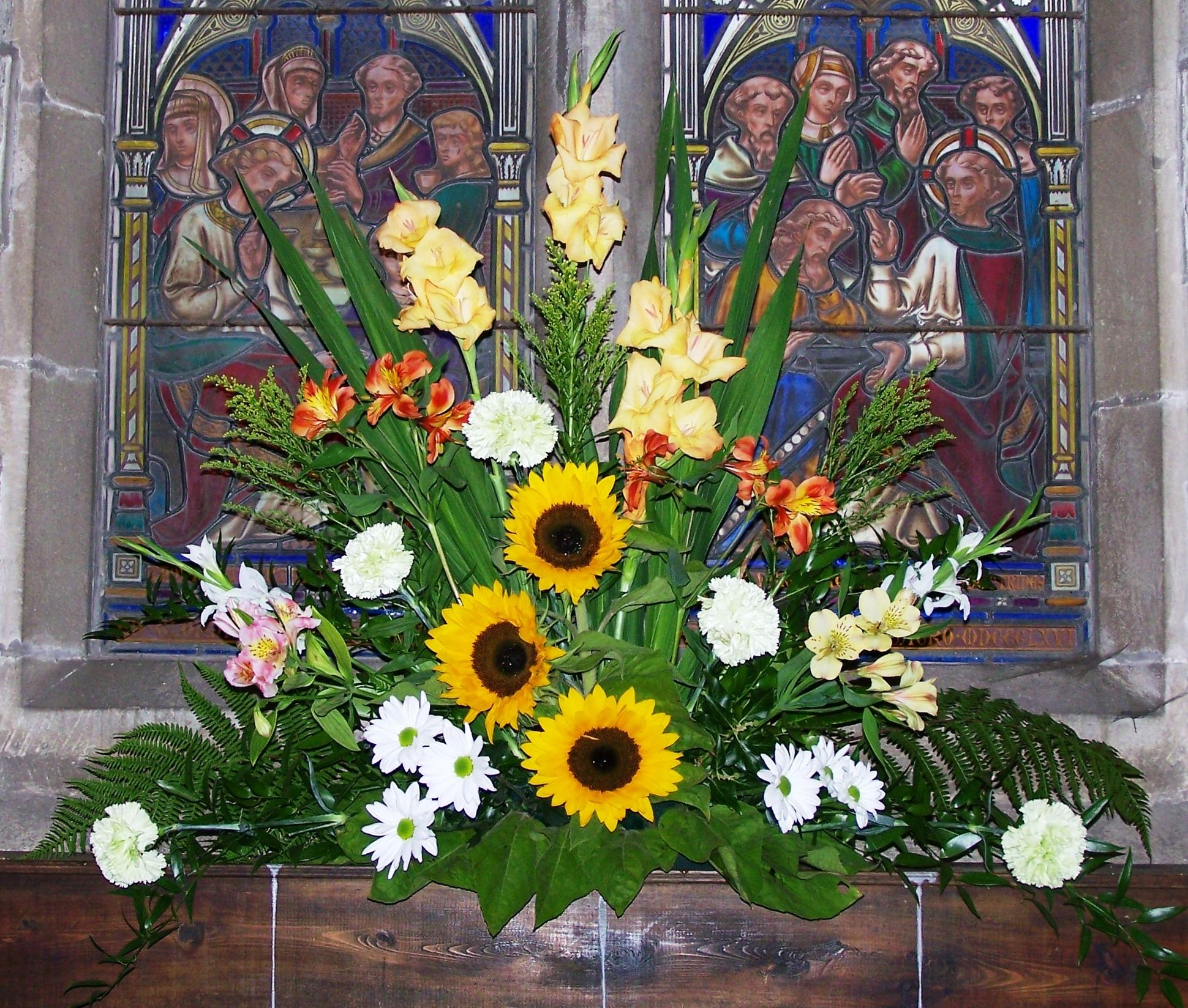 St Giles, Ludford, funeral in August 2012 window