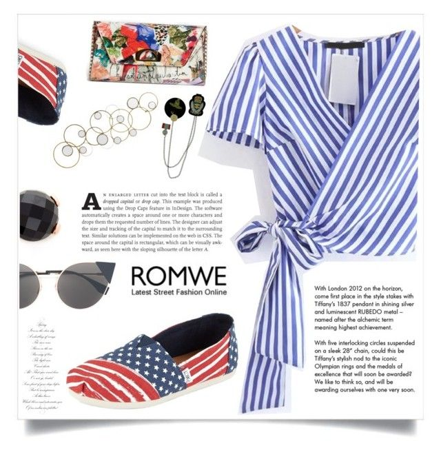 """Romwe"" by violet-peach ❤ liked on Polyvore featuring TOMS, Bronzallure, Fendi, Christian Louboutin and Tiffany & Co."