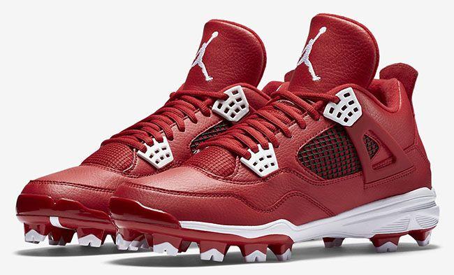 Air Jordan 4 Cleats Red White | Air