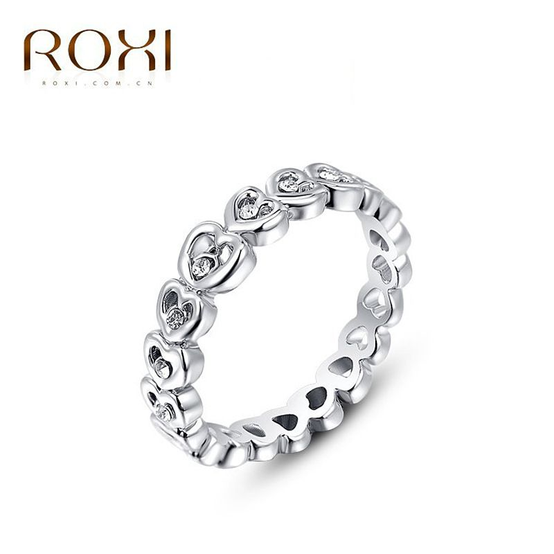 New 2017 Austrian Crystal love Rings Girls Silver Plated Eternity ...