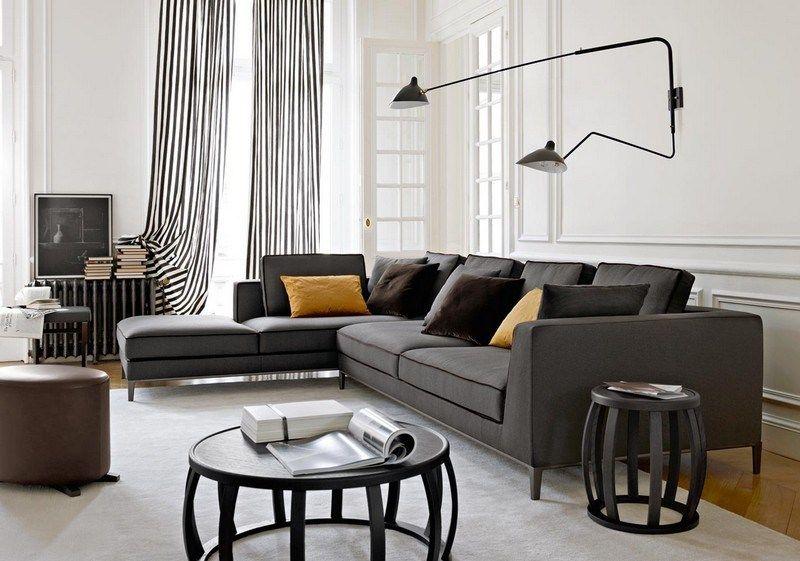 Sofa in Grau - 50 Wohnzimmer mit Designer Couch | Home | Pinterest ...