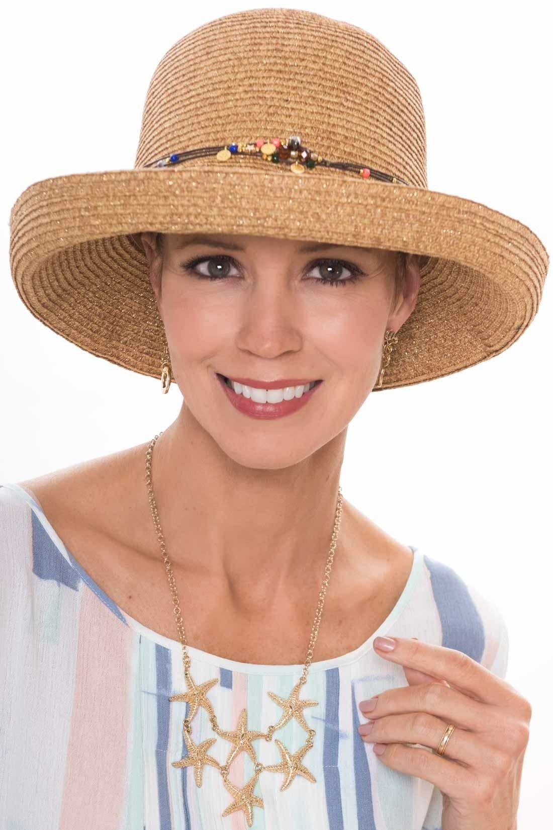 e35a8c9f83a3c Marisol Metallic Beaded Sun Hat. Provides full coverage