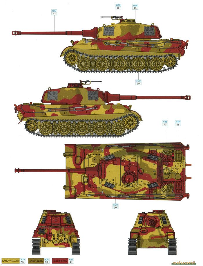 king tiger ausf.b three-color camouflage color profile and paint