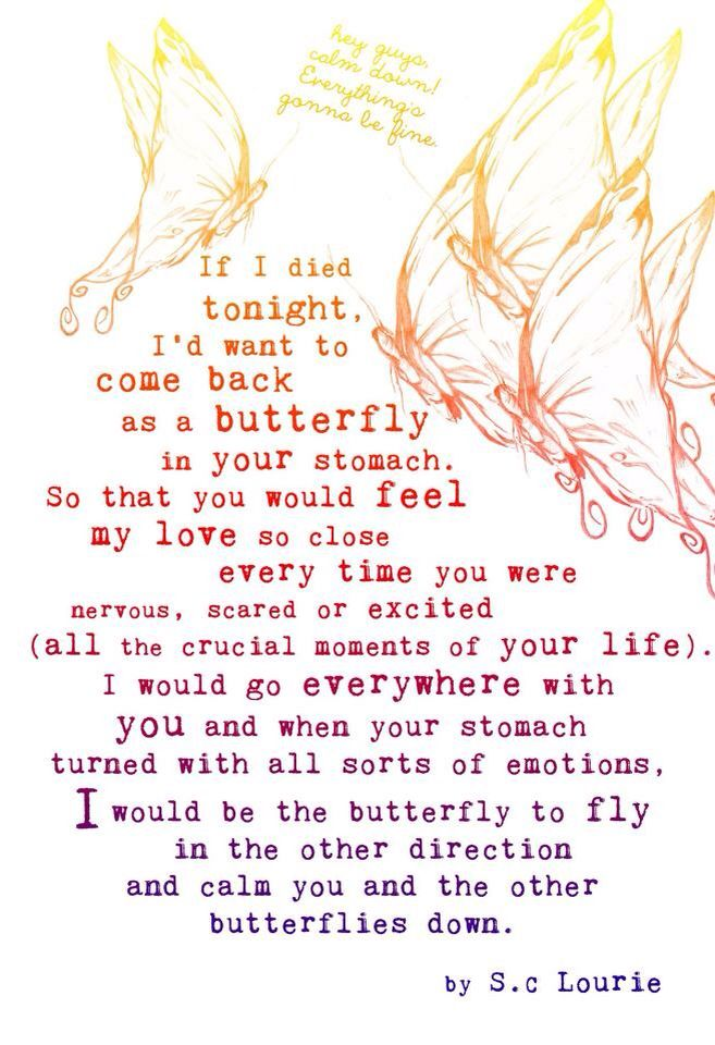 I Want To Come Back As A Butterfly In Your Stomach Love