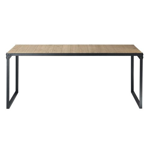 Fir Wood And Metal Industrial 8 Seater Dining Table L 180 8