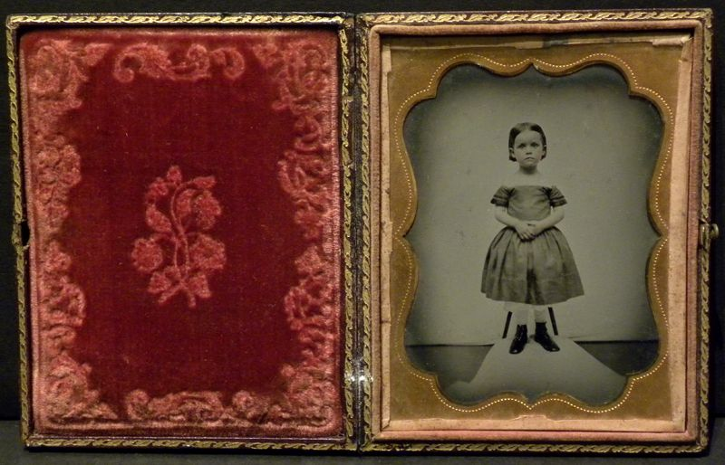 Young Girl Ambrotype Photo Fancy Dress Victorian Head Clamp 1 4 Plate Cased | eBay