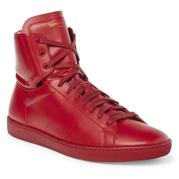 Saint Laurent Classic Tonal Leather Hi-Top Sneakers (2.025 BRL) ❤ liked on Polyvore featuring men's fashion, men's shoes, men's sneakers, apparel & accessories, mens leather sneakers, mens leather shoes, mens high top sneakers, yves saint laurent mens shoes and mens leather lace up shoes