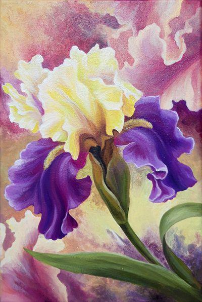 Iris 20x30 Cm Acrylic On Canvas Floral Painting Gift For Mom Flowers Painting In 2020 Iris Painting Flower Painting Iris Art