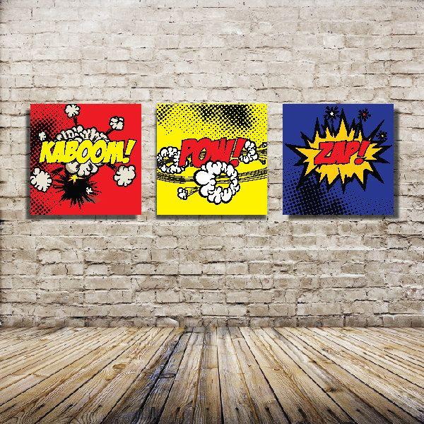 Set of three 16x16 canvas prints comic book theme canvas wraps super hero