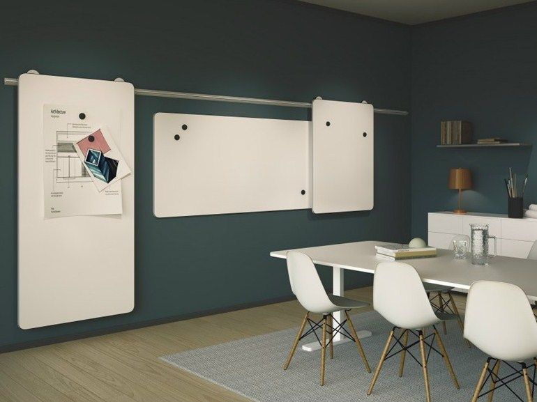 Wallmounted sliding office whiteboard MOOW by Abstracta design