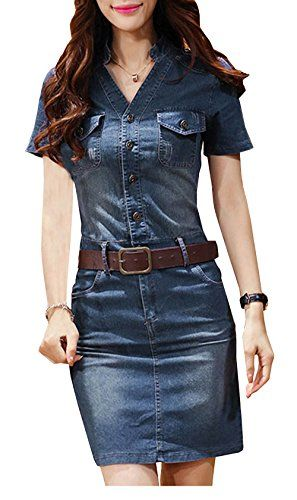 Bestfort Damen Jeanskleid V-Ausschnitt Retro Denim Kleid ...