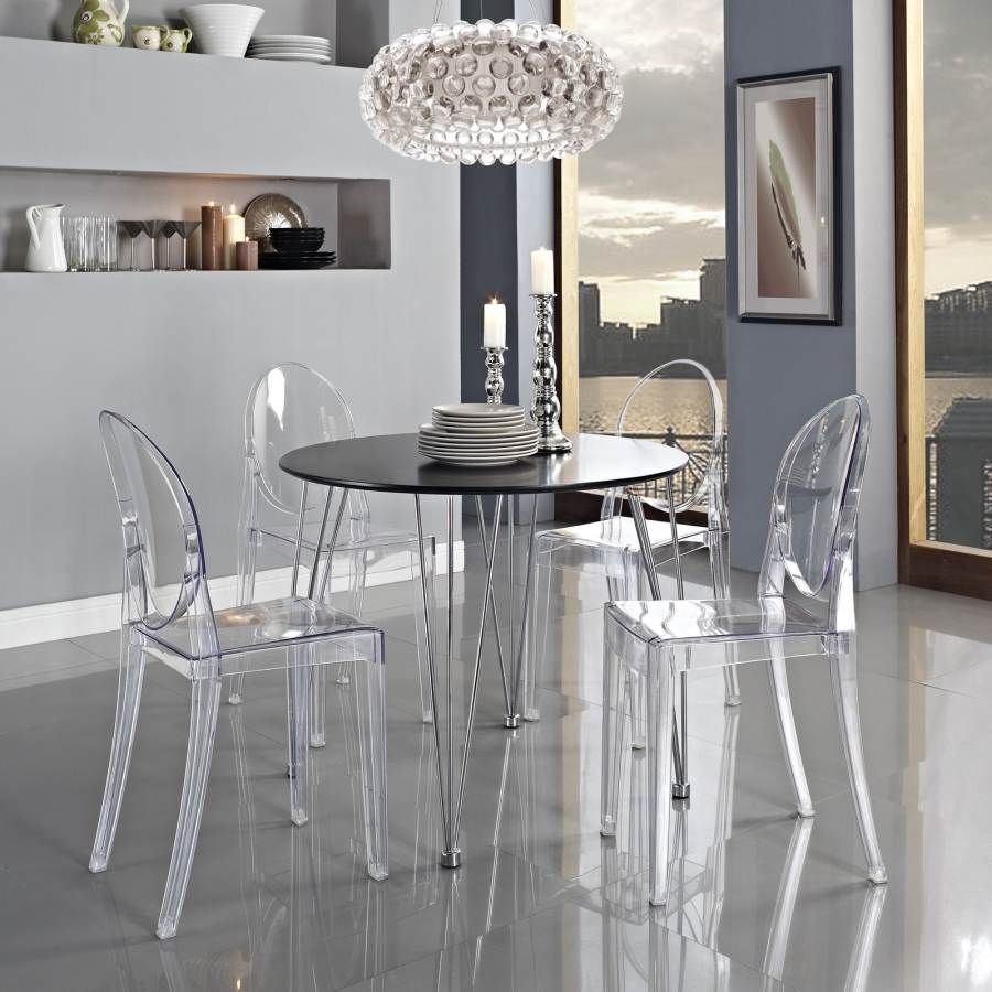 Black Plywood With Stainless Steel Dinette Set Eei 783 908 Set